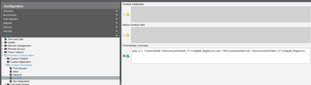 script change automaticalley connection bar citrix